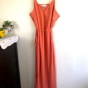 Peachy coral slip dress